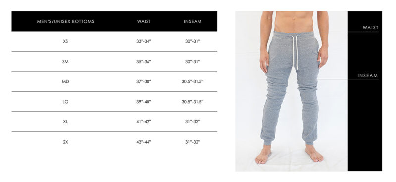 Unisex Pants Sizing