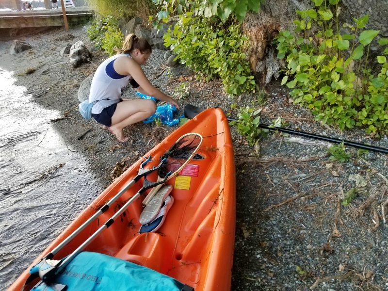 Skyler Strandness Kayak Beach Cleanup